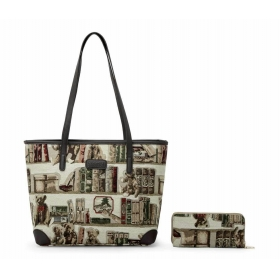 Sewing Patterns Canvas Tote With PU Handle + Purse