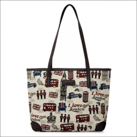 Sewing Patterns Canvas Tote With PU Handle