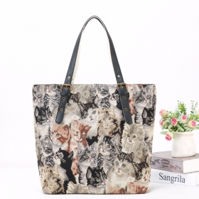 Canvas Shopper With PU Handle NEW