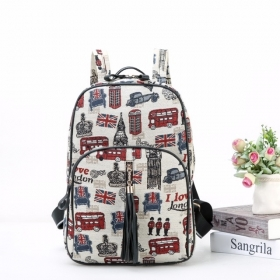 Sewing Embroidery Canvas Backpack